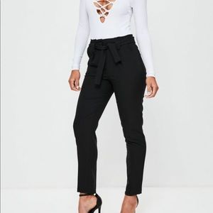 MISSGUIDED Paperbag pleated tie waist trousers